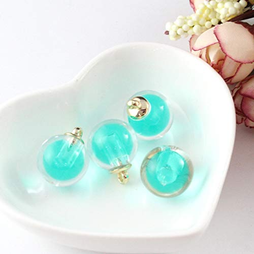 Dalab 20PC Charm Frosted Crystal Pendant Ornament Adult Jewelry Earrings Handmade Craft Supplies Multicolor Creative Resin Round Beads - (Color: Green)
