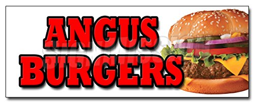 12' Angus Burgers Decal Sticker broiled charbroiled Cheeseburgers Beef USDA