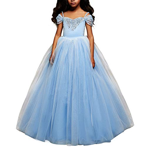 Cinderella Costumes Blue Pageant Dresses Little Girls Puffy Tulle Princess Ball Gown Kids Birthday Halloween Party]()