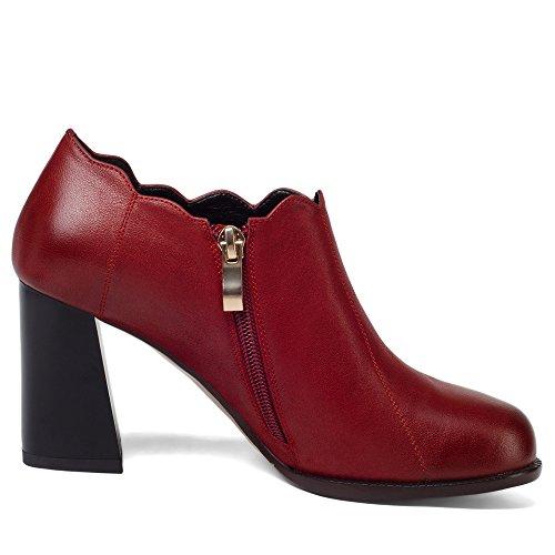 Neuf Sept Femmes En Cuir Véritable Bout Arrondi Chunky Talon Élégant Affaires À La Main À La Mode Pompes Chaussures Nouveau Bourgogne