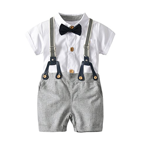 BINIDUCKLING Baby Boy Short Sleeve Romper Overall, Toddler Bodysuit Short Suit with Bow Tie Suspender Gray, 12-18 Month -