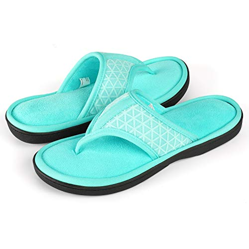 - Women's Cozy Memory Foam Plush Gridding Velvet Lining Spa Thong Flip Flops Clog Style House Indoor Slippers (Small / 5-6 B(M) US,Mint Green)