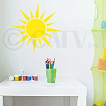 Sun - yellow vinyl wall decal sticker cute kids room decor 2 sizes and styles vinyl lettering wall (30.48cm x 30.48, Sun B)