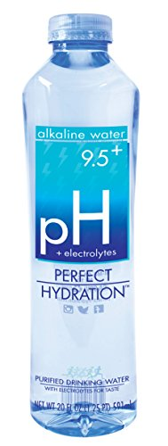 Perfect Hydration Alkaline Electrolyte Enhanced Water, 9.5+ pH | Ultra Purified Ionically Charged Minerals Added Drinking Water | No Added Sodium, Chlorine, Fluorine, 20 fl. Oz. (24 Pack) (Perfect Water)