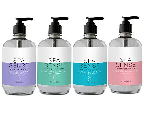 Spa Sense Apothecary Hand Soap Collection, 18 OZ, Infused with Natural Essential Oil, Revitalizing Rosemary Mint, Clarifying Tea Tree, Refreshing Eucalyptus, Relaxing Lavender Scent, Gift Set of ()