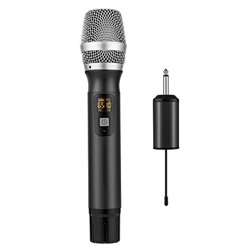Handheld Wireless Microphone, EIVOTOR 25 Channel Professional Portable UHF Microphone System with Mini Receiver for Karaoke Singing Machine, Home KTV Set, Meeting, Church, Black by EIVOTOR