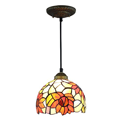 Multi Family 1 Light (Carl Artbay DDM-D1 Tiffany Style Sunflower Lamp Shade Hanging Pendant, 8 Inch, 1-Lights, Multi)