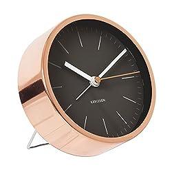 Alarm Clock Minimal Karlsson Copper Black Silent Movement