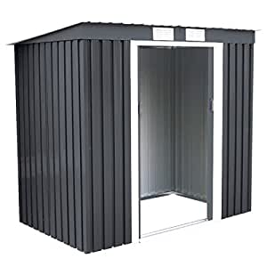 4'X7' Outdoor Garden Storage Shed Tool House Sliding Door Metal Dark Gray New