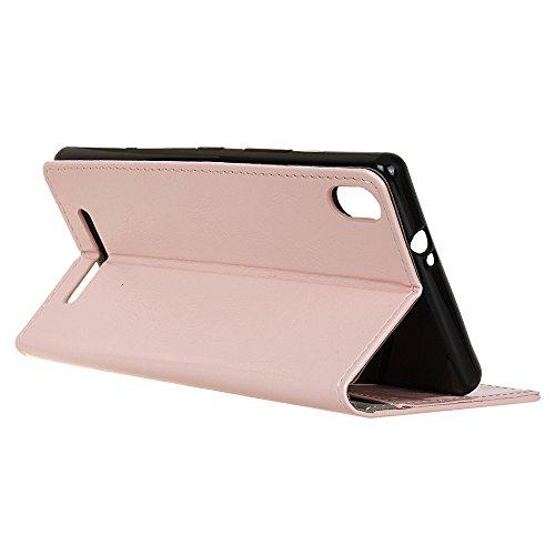 Lusee® PU Caso de cuero sintético Funda para Acer Liquid X2 Cubierta con funda de silicona botón caballo Loco patrón negro caballo Loco patrón Rosa