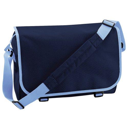 Bagbase Schultertasche / Messenger-Tasche, 11 Liter Dunkelblau/Hellblau