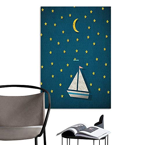 Camerofn 3D Murals Stickers Wall Decals Fantasy Sailing Boat at Night Sky with Stars and Crescent Moon Kids Nursery Bedtime Theme Multicolor TV Backdrop Wall W20 x H28 ()