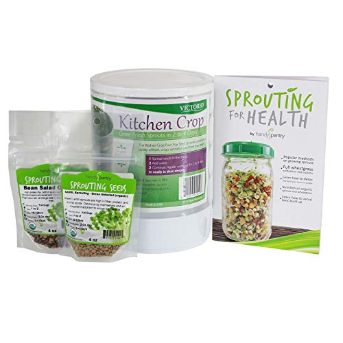 Kitchen Crop Sprouting Kit | Includes Victorio 4 Tray Sprouter, Sprouting Book, Organic Alfalfa, Lentil & Bean Salad Sprout Mix | Makes Over 3 Lbs Of Sprouts -