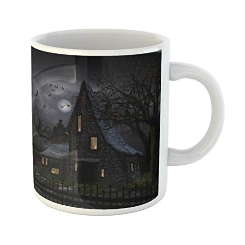 (Semtomn Funny Coffee Mug 3D of Haunted House Dark Horror Atmosphere Sky Full Moon 11 Oz Ceramic Coffee Mugs Tea Cup Best Gift Or Souvenir)