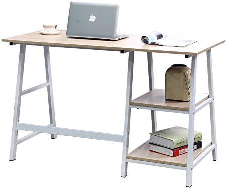 SogesFurniture Mesa de Escritorio Mesa de Ordenador de Madera, 120 * 60 cm Ordenador Portátil Mesa Escritorio Oficina Mesa con estantes, ...