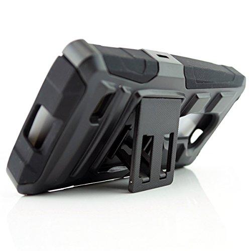 Customerfirst - LG Leon LTE C40 / H320 Case, Extreme Heavy Duty Hybrid Armor Dual Layer Rhino Kickstand Belt Holster Clip Combo Rugged Case Tough - Free Flash Light Key Chain (HOLSTER BLACK)