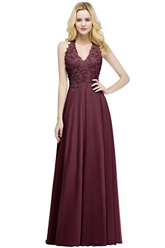 Babyonlinedress Sleeveless Floor Length Formal Gowns,Burgundy,4