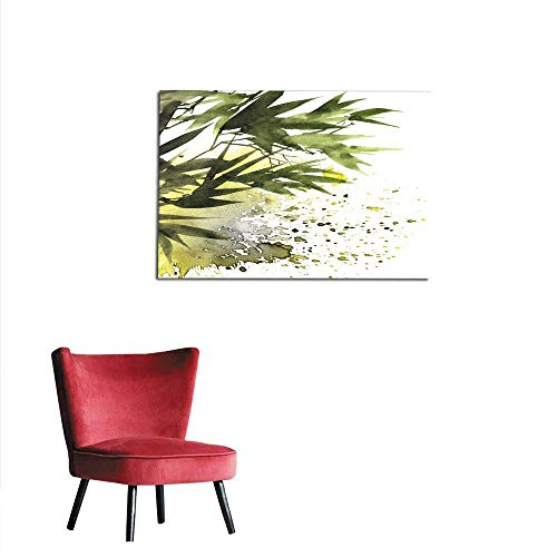"""Wall Paper Tropical Bamboo Leaves Mural 24""""x20"""""""