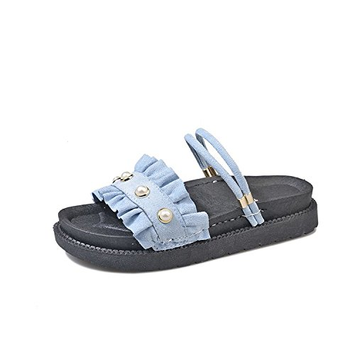 Soft Ladies Leisure Ruffled Bottom Wild Use Sandals Female Summer Comfortable Wear women Dual blue slippers Flat P5qOS8wO