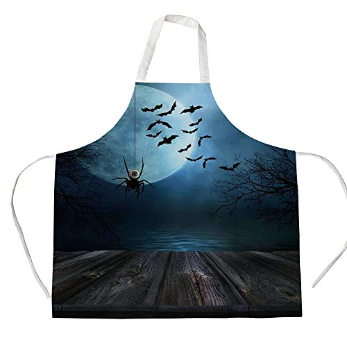 iPrint Cotton Linen Apron,Two Side Pocket,Halloween Decorations,Misty Lake