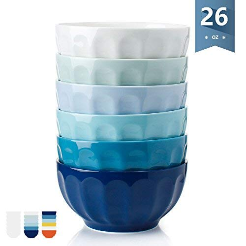 Sweese 1112 Porcelain Fluted Bowls - 26 Ounce for Cereal, Soup and Fruit - Set of 6, Cold Assorted Colors