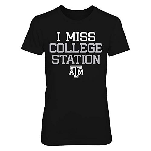 Texas A&M Aggies Black Women's Tee I Miss College Station T-Shirt - Gildan