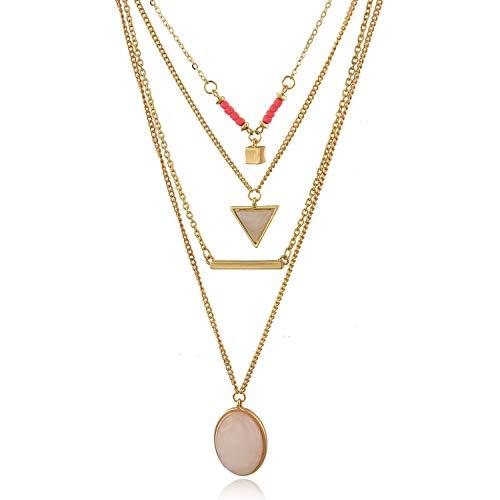 Choker Layered Necklace Multi Chain Necklace Set (Pink) ()
