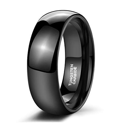 - Black Tungsten Ring for Men Women Dome High Polished Comfort Fit Wedding Band 8mm