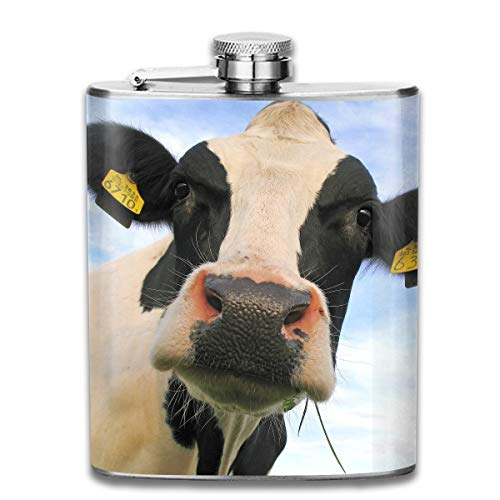 Laki-co Cow Cattle Hip Flask for Liquor Stainless Steel Bottle Alcohol 7oz ()