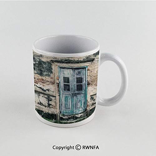 11oz Unique Present Mother Day Personalized Gifts Coffee Mug Tea Cup White Rustic Decor,Doors of An Old Rock House with French Frame Details in Countryside European Past Theme,Teal Grey Funny Ceramic