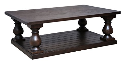 - Casual Elements Rectangular Pedestal Coffee Table, Light Rustic Dark Brown