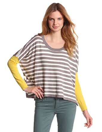 BCBGeneration Women's Oversized Striped Shirttail Pullover Sweater, Citron Yellw Combo, One Size