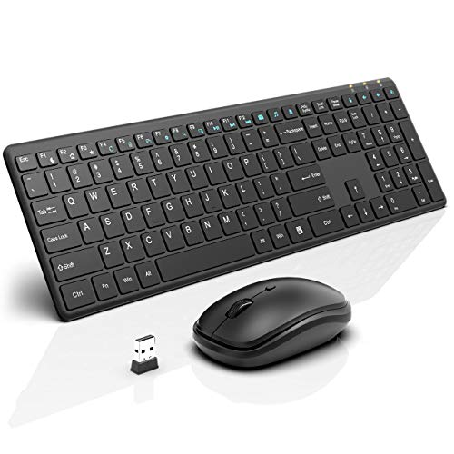 Wireless Keyboard and Mouse Combo, RATEL 2.4GHz Ultra-Thin Full Sized Wireless Keyboard and Silent Click Wireless Mouse with USB Nano Receiver for Computer, Desktop, PC, Notebook, Laptop.