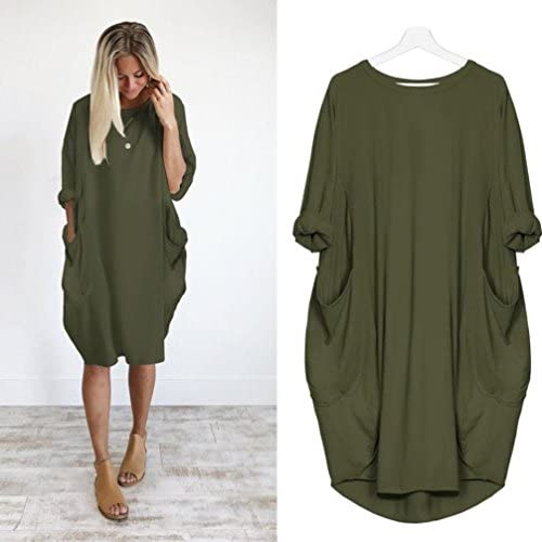 BeautyVan Long Tops Dress, New Womens Fashion Pocket Loose Dress Ladies Crew Neck Casual Long Tops Dress Plus Size