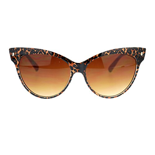Womens Leopard Animal Print Thick Plastic Large Cateye horned Sunglasses - Print Leopard Sunglasses