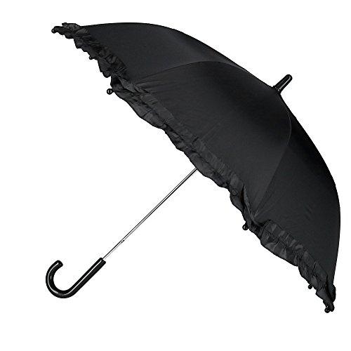 Price comparison product image CTM Kid's Solid Color Stick Umbrella with Ruffle,  Black