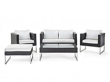 Rattan Gartenmöbel Cindy Farbe braun + weiß 14 teiliges Komplett Set ...