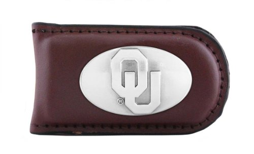 NCAA Oklahoma Sooners Brown Leather Magnet Concho Money Clip, One Size