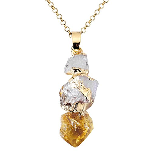 - Top Plaza Natural Topaz Crystal Healing Crystal Golden Plated Rodlike Shapeless Pendant Necklace