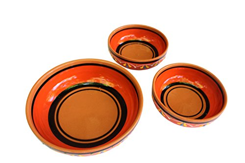 Terracotta Festive Set of 3 - Orange - Hand Painted In Spain by Cactus Canyon Ceramics
