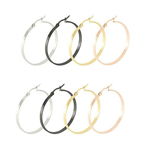 Aooaz, Women Hoop Earrings Stainless Grit one's teeth Large Stud Earrings Gold Silver Black Rose Gold, 4 Pairs 50mm