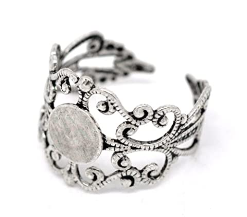 Housweety 20 Silver Tone Adjustable Filigree Ring Settings US 8 (Adjustable Filigree Ring Blanks)