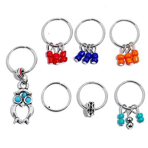 7/8Pcs Women Girls Boho Beads Pendant Rings Hair Clip Accessories for Braid ofus (StyleID - #3) ()