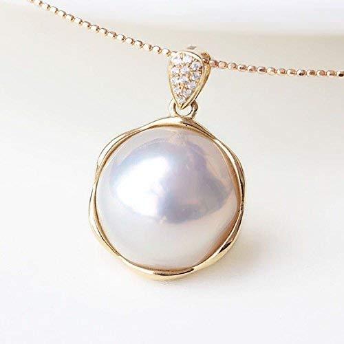 (18K Gold Framed White 15-16MM Japanese Cultured Mabe Pearl &)