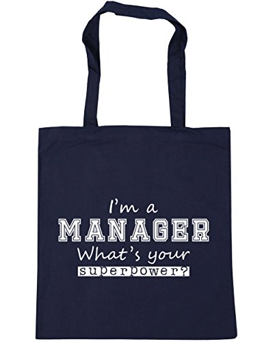 HippoWarehouse I'm a Manager What's Your Superpower? Tote Shopping Gym Beach Bag 42cm x38cm, 10 litres French Navy