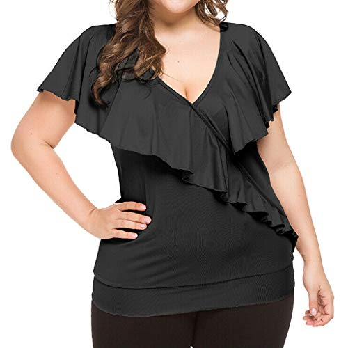 (CCatyam Plus Size Blouses for Women, Tops T-Shirt V-Neck Solid Ruffles Oversized Loose Sexy Fashion Black)
