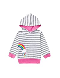 KONFA Toddler Baby Girls Rainbow Striped Hoodie Pullover,Kids Long Sleeve Hooded Jacket Coat Autumn Winter Clothes Set