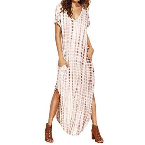 Kimloog Women Dye Print Side Split Loose Long Dress Deep V Neck Curved Hem T Short Sleeve Sundress (L, Khaki)
