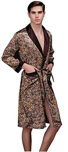 Shining Life Mens Shawl Classic Satin Kimono Robe Sleepwear