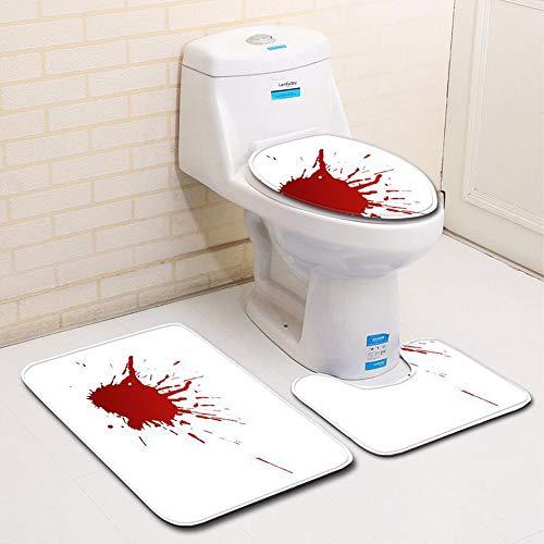 YOYORI Bathroom Rug Mat - Bath Mat Carpet - Blood Handprint Bathroom Toilet Three Piece Floor Mat Door Mat Shag Shower Mat - Halloween Carpet Mats (G)